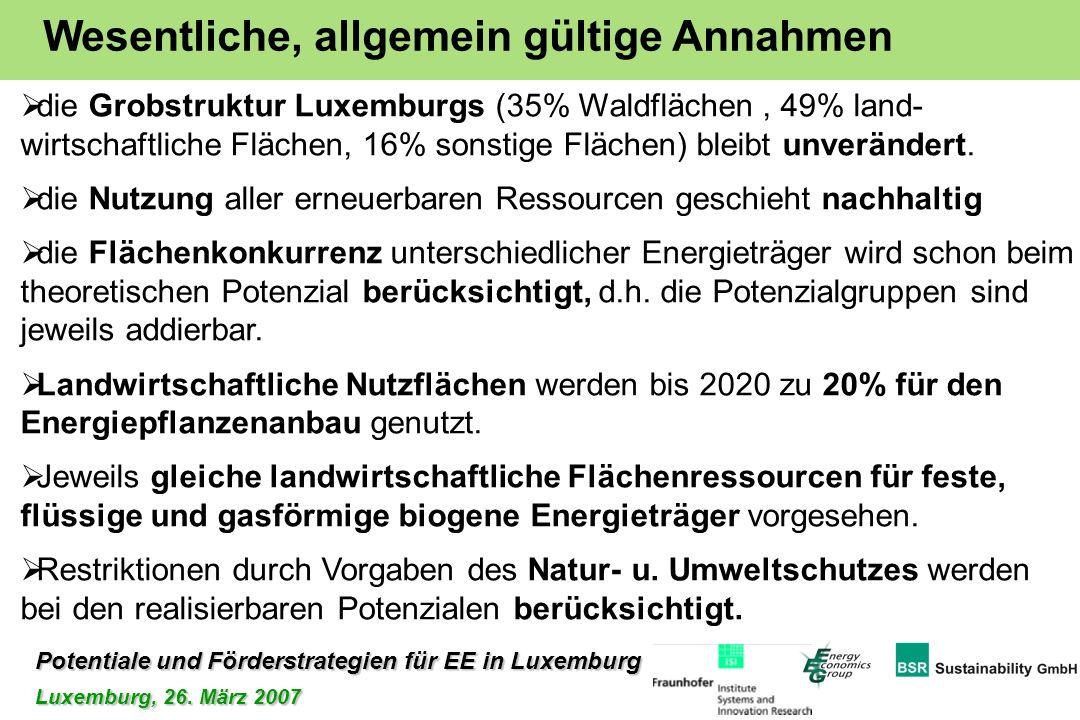 Potentiale und Förderstrategien für EE in Luxemburg Luxemburg, 26. März 2007 die Grobstruktur Luxemburgs (35% Waldflächen, 49% land- wirtschaftliche F