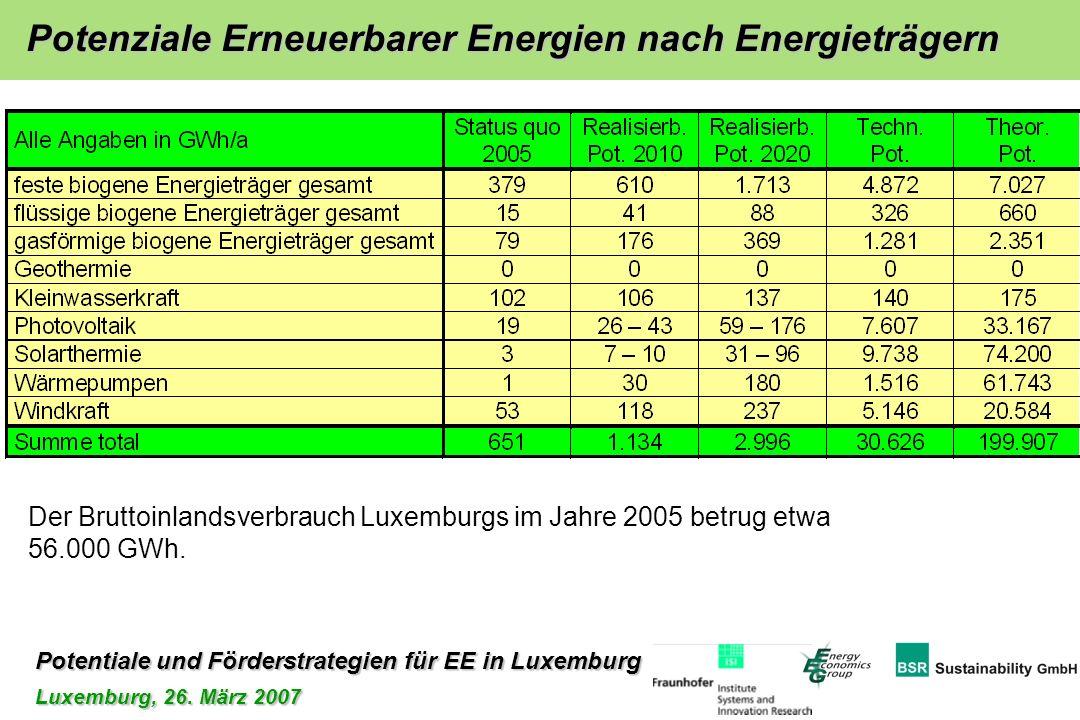 Potentiale und Förderstrategien für EE in Luxemburg Luxemburg, 26. März 2007 Potenziale Erneuerbarer Energien nach Energieträgern Der Bruttoinlandsver