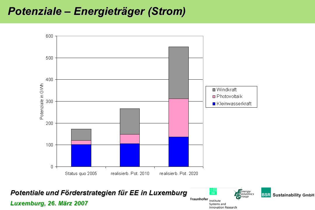 Potentiale und Förderstrategien für EE in Luxemburg Luxemburg, 26. März 2007 Potenziale – Energieträger (Strom)