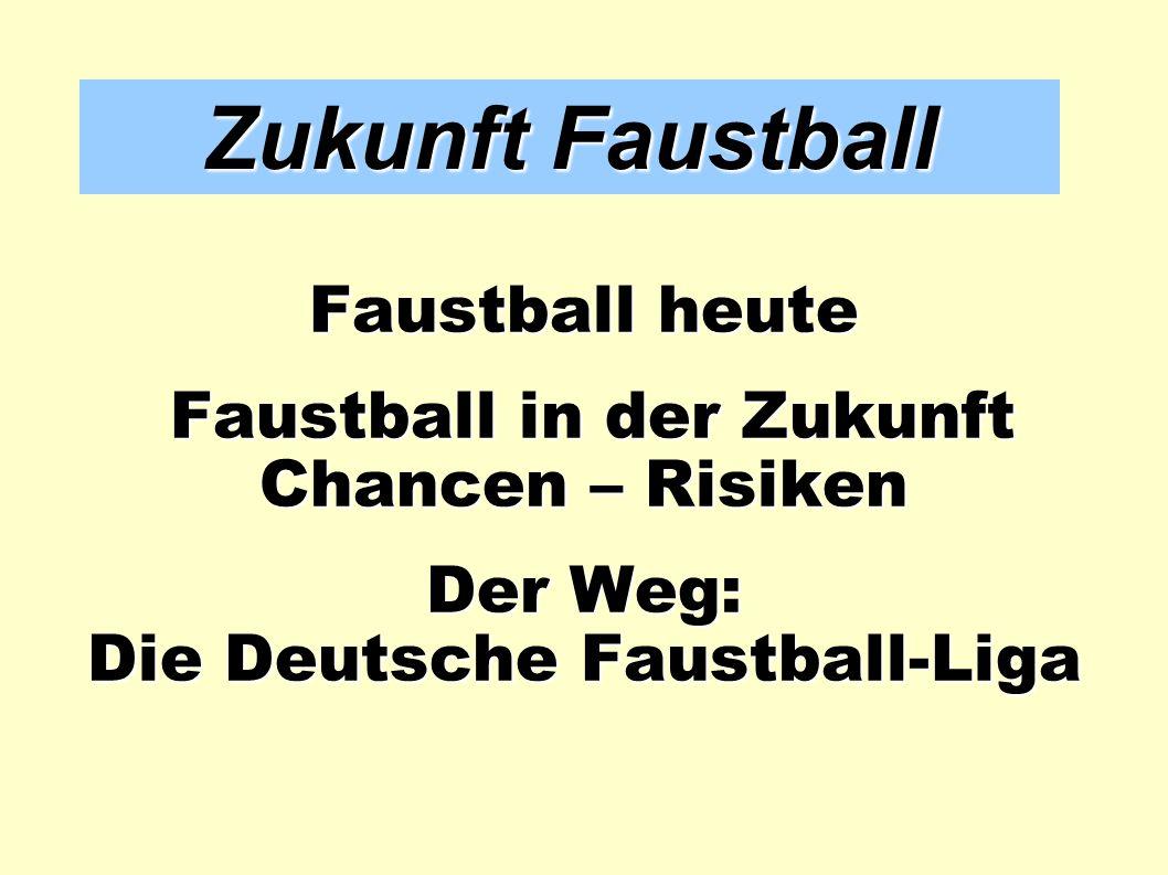 Zukunft Faustball Faustball heute Faustball in der Zukunft Faustball in der Zukunft Chancen – Risiken Der Weg: Die Deutsche Faustball-Liga