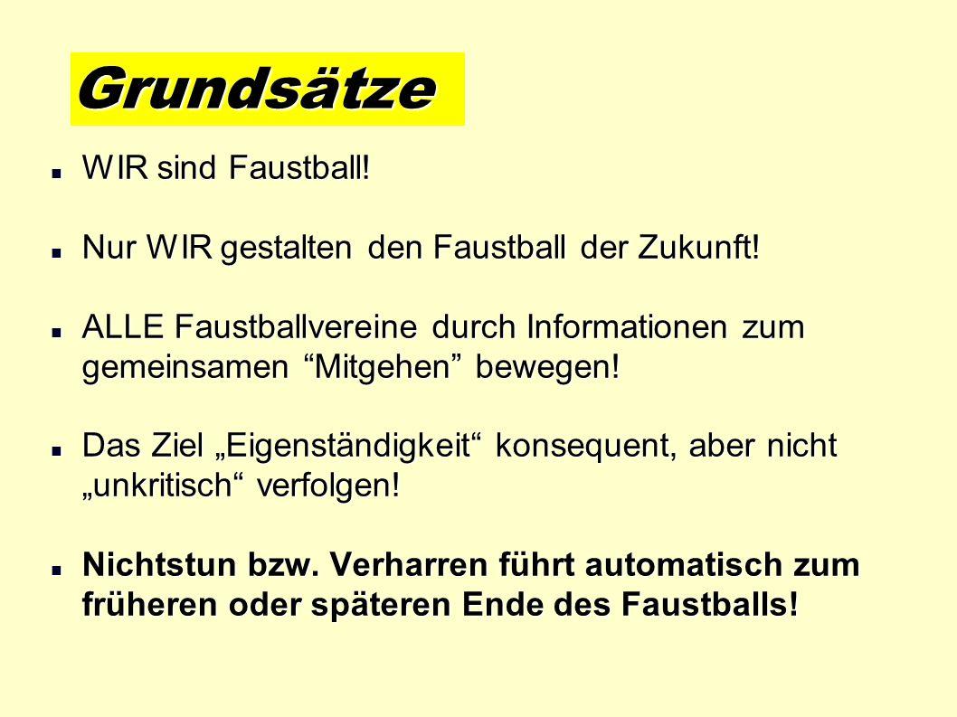WIR sind Faustball! WIR sind Faustball! Nur WIR gestalten den Faustball der Zukunft! Nur WIR gestalten den Faustball der Zukunft! ALLE Faustballverein