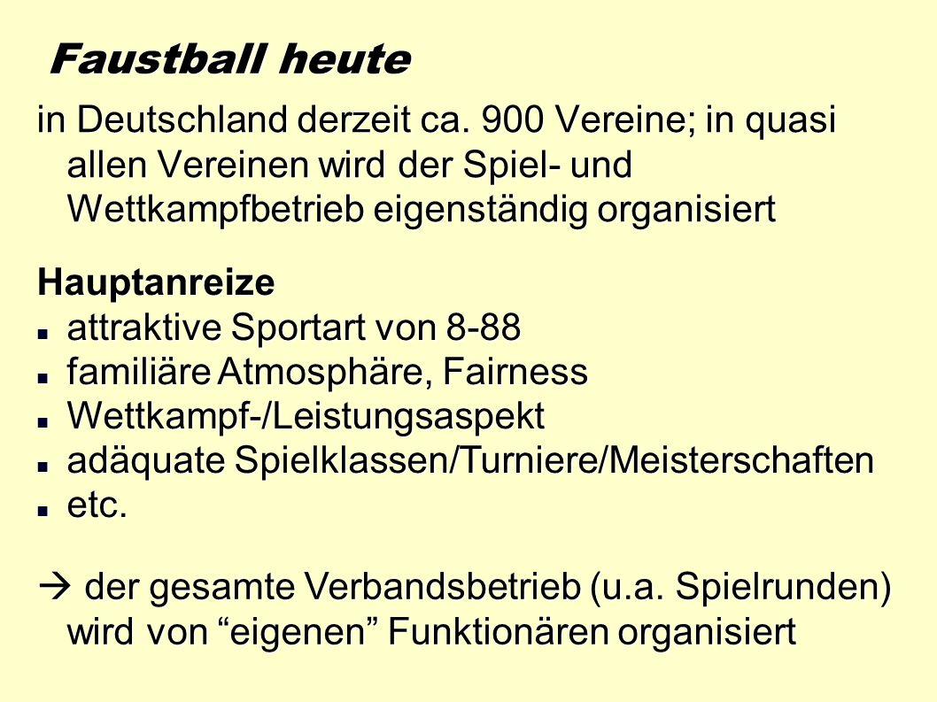 Faustball heute in Deutschland derzeit ca. 900 Vereine; in quasi allen Vereinen wird der Spiel- und Wettkampfbetrieb eigenständig organisiert Hauptanr
