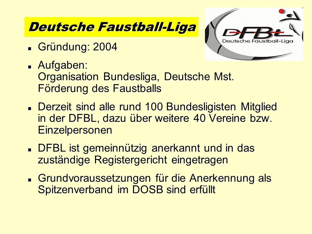 Gründung: 2004 Gründung: 2004 Aufgaben: Organisation Bundesliga, Deutsche Mst. Förderung des Faustballs Aufgaben: Organisation Bundesliga, Deutsche Ms
