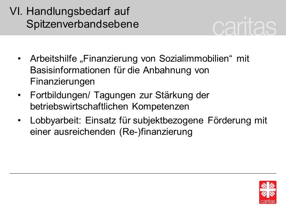 VI. Handlungsbedarf auf Spitzenverbandsebene Arbeitshilfe Finanzierung von Sozialimmobilien mit Basisinformationen für die Anbahnung von Finanzierunge