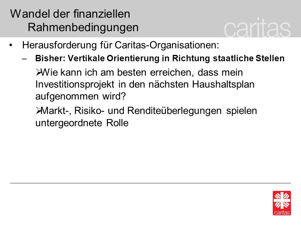Wandel der finanziellen Rahmenbedingungen Herausforderung für Caritas-Organisationen: –Bisher: Vertikale Orientierung in Richtung staatliche Stellen Wie kann ich am besten erreichen, dass mein Investitionsprojekt in den nächsten Haushaltsplan aufgenommen wird.
