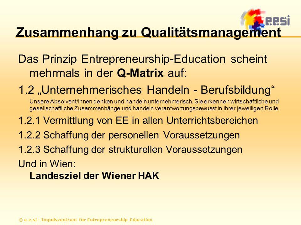 © e.e.si - Impulszentrum für Entrepreneurship Education Zusammenhang zu Qualitätsmanagement Das Prinzip Entrepreneurship-Education scheint mehrmals in der Q-Matrix auf: 1.2 Unternehmerisches Handeln - Berufsbildung Unsere Absolvent/innen denken und handeln unternehmerisch.