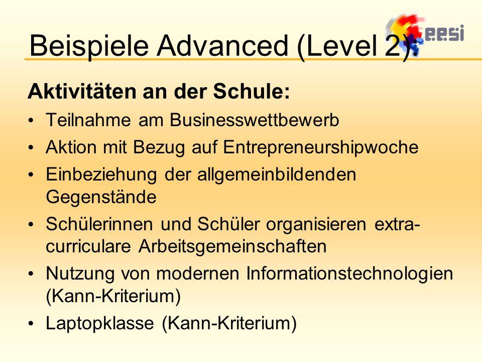 Beispiele Advanced (Level 2): Aktivitäten an der Schule: Teilnahme am Businesswettbewerb Aktion mit Bezug auf Entrepreneurshipwoche Einbeziehung der allgemeinbildenden Gegenstände Schülerinnen und Schüler organisieren extra- curriculare Arbeitsgemeinschaften Nutzung von modernen Informationstechnologien (Kann-Kriterium) Laptopklasse (Kann-Kriterium)