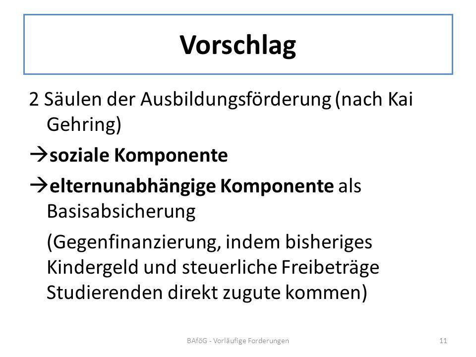 Vorschlag 2 Säulen der Ausbildungsförderung (nach Kai Gehring) soziale Komponente elternunabhängige Komponente als Basisabsicherung (Gegenfinanzierung