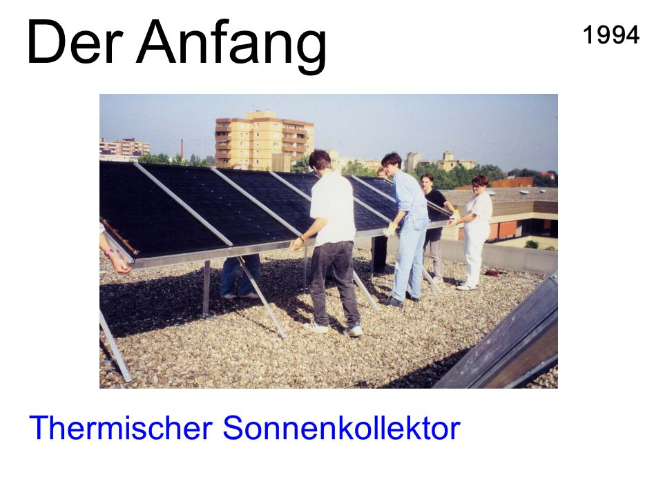 Der Anfang Thermischer Sonnenkollektor 1994