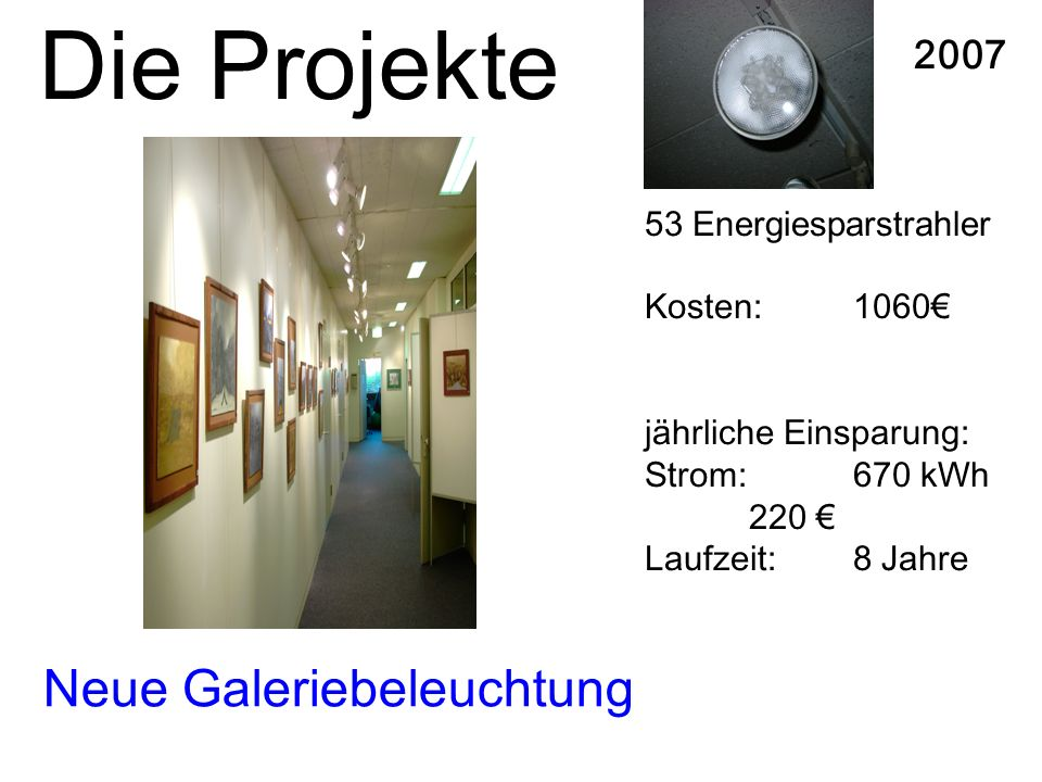 Neue Galeriebeleuchtung 2007 53 Energiesparstrahler Kosten:1060 jährliche Einsparung: Strom: 670 kWh 220 Laufzeit: 8 Jahre Die Projekte