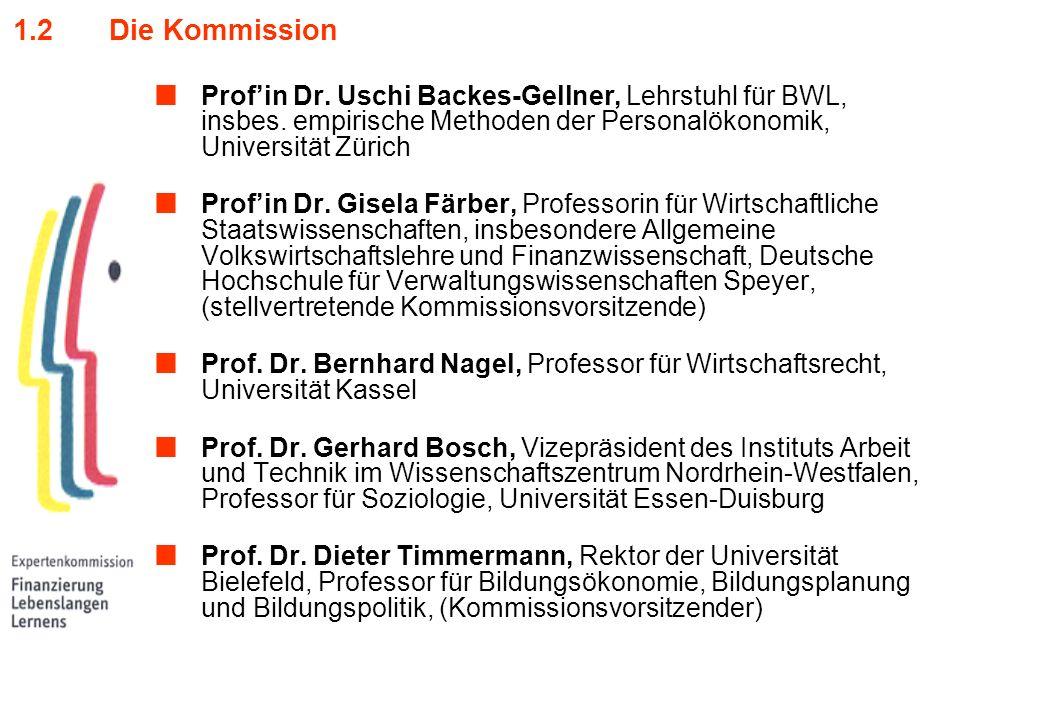 1.2Die Kommission Profin Dr. Uschi Backes-Gellner, Lehrstuhl für BWL, insbes. empirische Methoden der Personalökonomik, Universität Zürich Profin Dr.