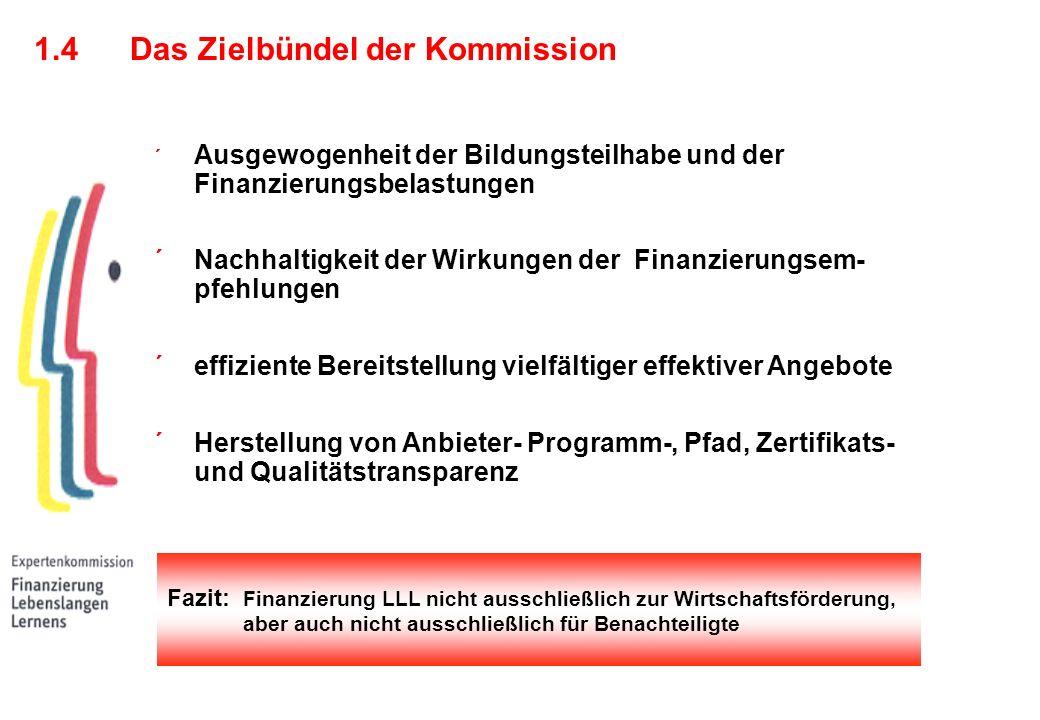 Fazit: Finanzierung LLL nicht ausschließlich zur Wirtschaftsförderung, aber auch nicht ausschließlich für Benachteiligte ´ Ausgewogenheit der Bildungsteilhabe und der Finanzierungsbelastungen ´ Nachhaltigkeit der Wirkungen der Finanzierungsem- pfehlungen ´ effiziente Bereitstellung vielfältiger effektiver Angebote ´ Herstellung von Anbieter- Programm-, Pfad, Zertifikats- und Qualitätstransparenz 1.4Das Zielbündel der Kommission