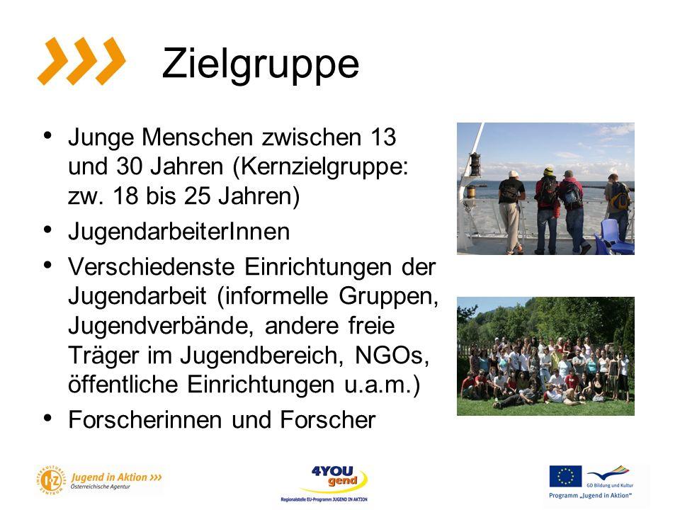 Zielgruppe Junge Menschen zwischen 13 und 30 Jahren (Kernzielgruppe: zw.