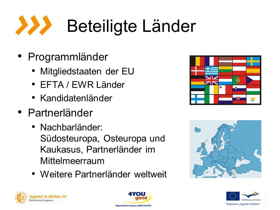 Beteiligte Länder Programmländer Mitgliedstaaten der EU EFTA / EWR Länder Kandidatenländer Partnerländer Nachbarländer: Südosteuropa, Osteuropa und Kaukasus, Partnerländer im Mittelmeerraum Weitere Partnerländer weltweit