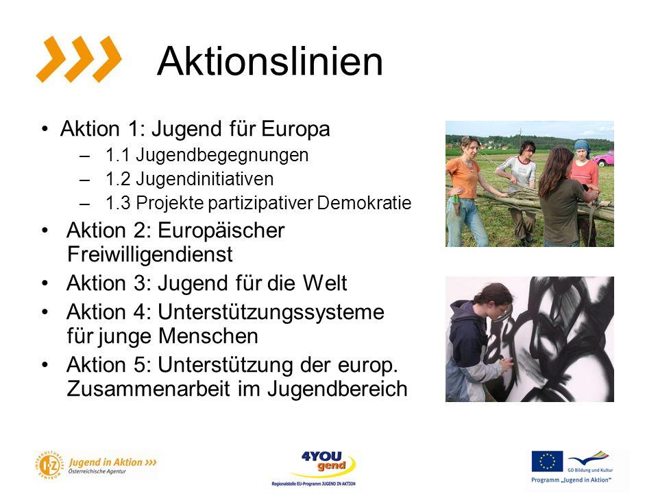 Aktionslinien Aktion 1: Jugend für Europa – 1.1 Jugendbegegnungen – 1.2 Jugendinitiativen – 1.3 Projekte partizipativer Demokratie Aktion 2: Europäischer Freiwilligendienst Aktion 3: Jugend für die Welt Aktion 4: Unterstützungssysteme für junge Menschen Aktion 5: Unterstützung der europ.