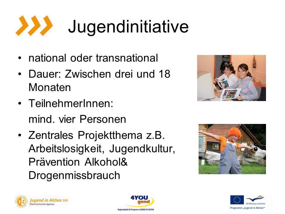 Jugendinitiative national oder transnational Dauer: Zwischen drei und 18 Monaten TeilnehmerInnen: mind.