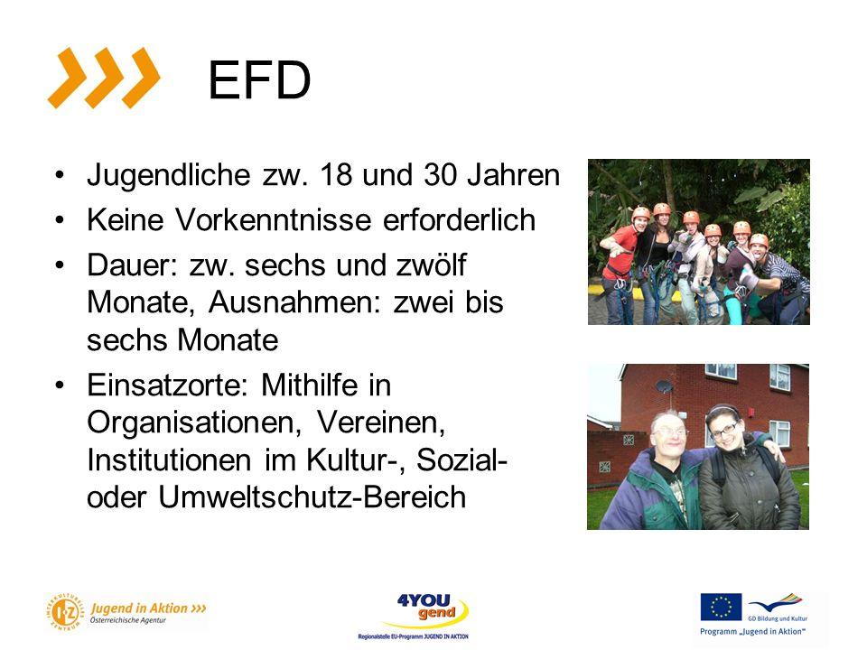EFD Jugendliche zw. 18 und 30 Jahren Keine Vorkenntnisse erforderlich Dauer: zw.