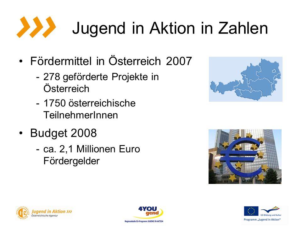Jugend in Aktion in Zahlen Fördermittel in Österreich 2007 -278 geförderte Projekte in Österreich -1750 österreichische TeilnehmerInnen Budget 2008 -ca.