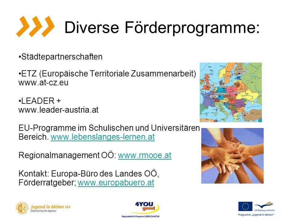 Diverse Förderprogramme: Städtepartnerschaften ETZ (Europäische Territoriale Zusammenarbeit) www.at-cz.eu LEADER + www.leader-austria.at EU-Programme im Schulischen und Universitären Bereich.