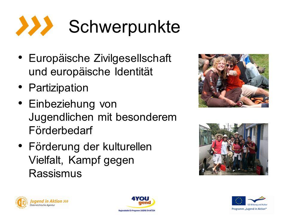 Schwerpunkte Europäische Zivilgesellschaft und europäische Identität Partizipation Einbeziehung von Jugendlichen mit besonderem Förderbedarf Förderung der kulturellen Vielfalt, Kampf gegen Rassismus