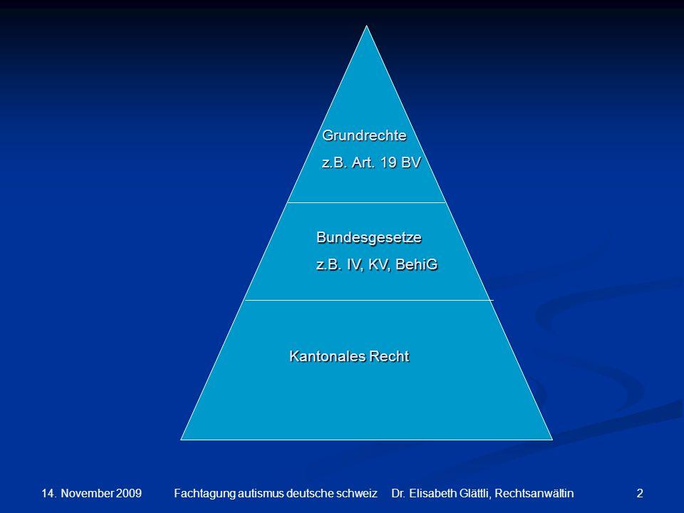 14. November 2009 2Fachtagung autismus deutsche schweiz Dr. Elisabeth Glättli, Rechtsanwältin Grundrechte z.B. Art. 19 BV Bundesgesetze z.B. IV, KV, B
