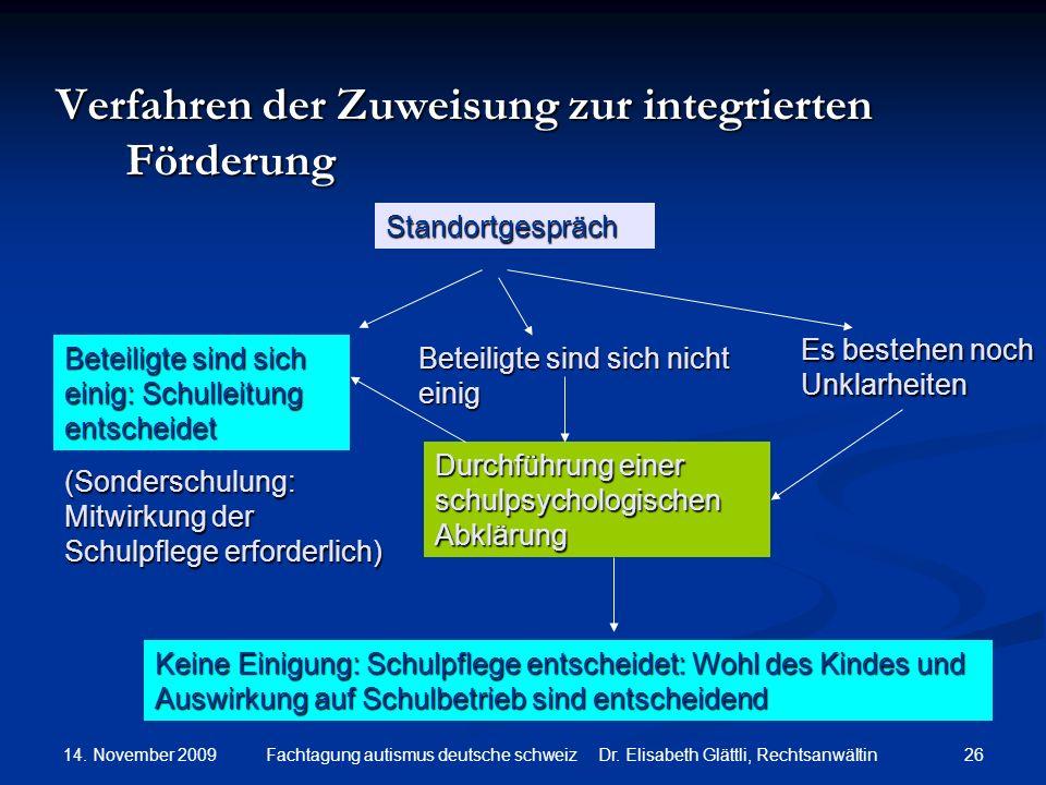 14. November 2009 26Fachtagung autismus deutsche schweiz Dr. Elisabeth Glättli, Rechtsanwältin Verfahren der Zuweisung zur integrierten Förderung Stan