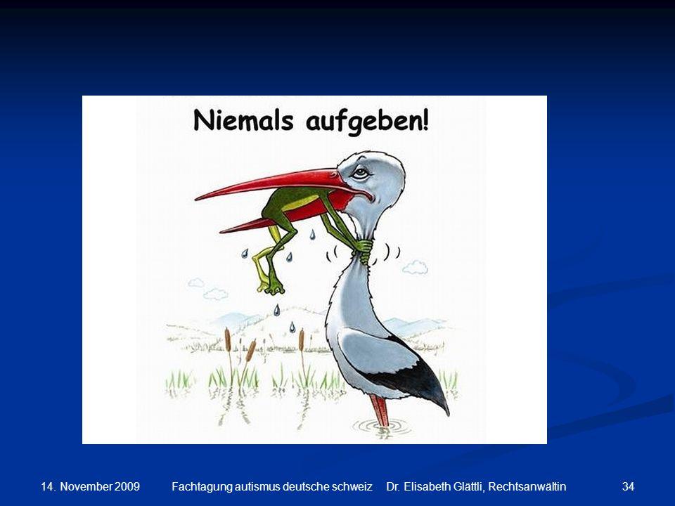 14. November 2009 34Fachtagung autismus deutsche schweiz Dr. Elisabeth Glättli, Rechtsanwältin