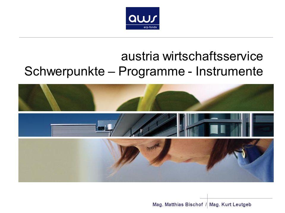 austria wirtschaftsservice Schwerpunkte – Programme - Instrumente Mag.
