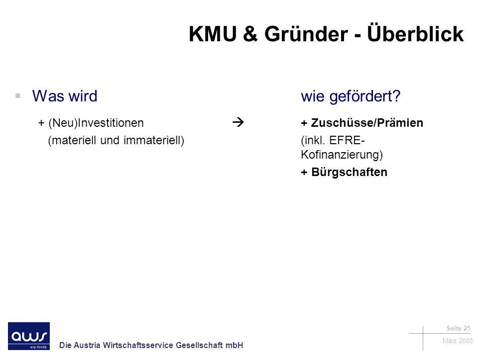 Die Austria Wirtschaftsservice Gesellschaft mbH März 2005 Seite 25 KMU & Gründer - Überblick Was wirdwie gefördert.