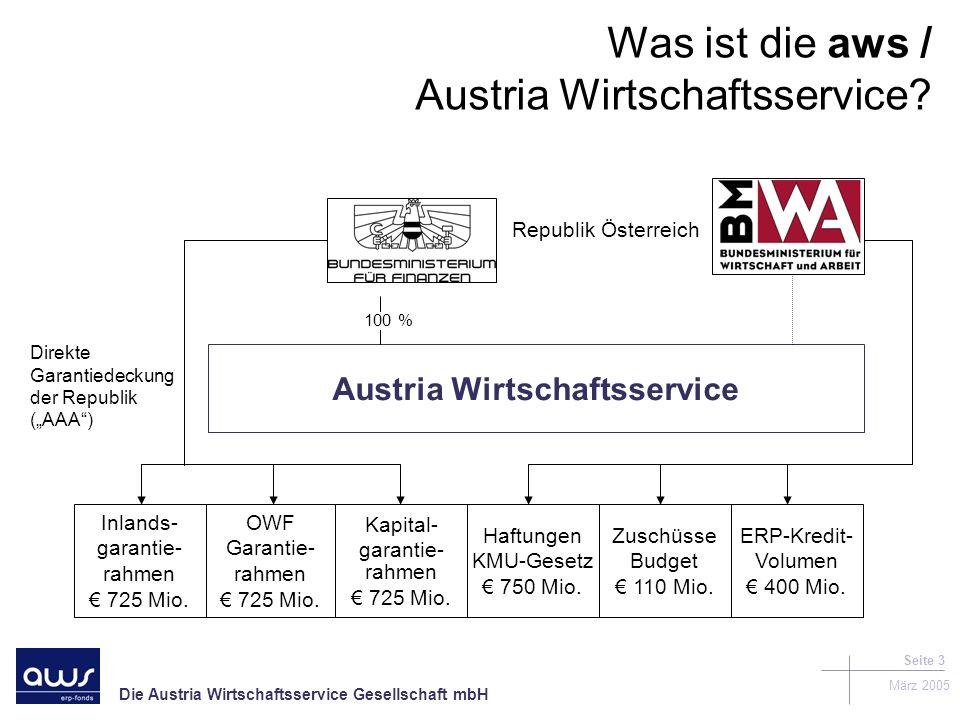Die Austria Wirtschaftsservice Gesellschaft mbH März 2005 Seite 3 Was ist die aws / Austria Wirtschaftsservice.