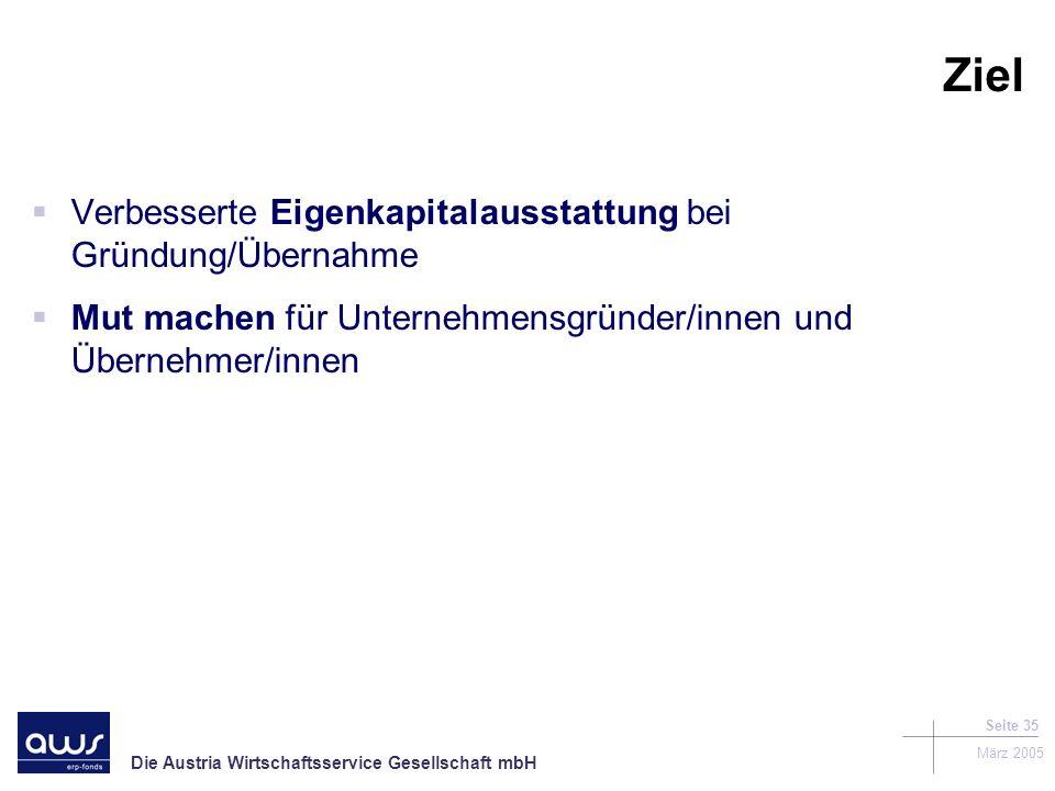 Die Austria Wirtschaftsservice Gesellschaft mbH März 2005 Seite 35 Ziel Verbesserte Eigenkapitalausstattung bei Gründung/Übernahme Mut machen für Unternehmensgründer/innen und Übernehmer/innen