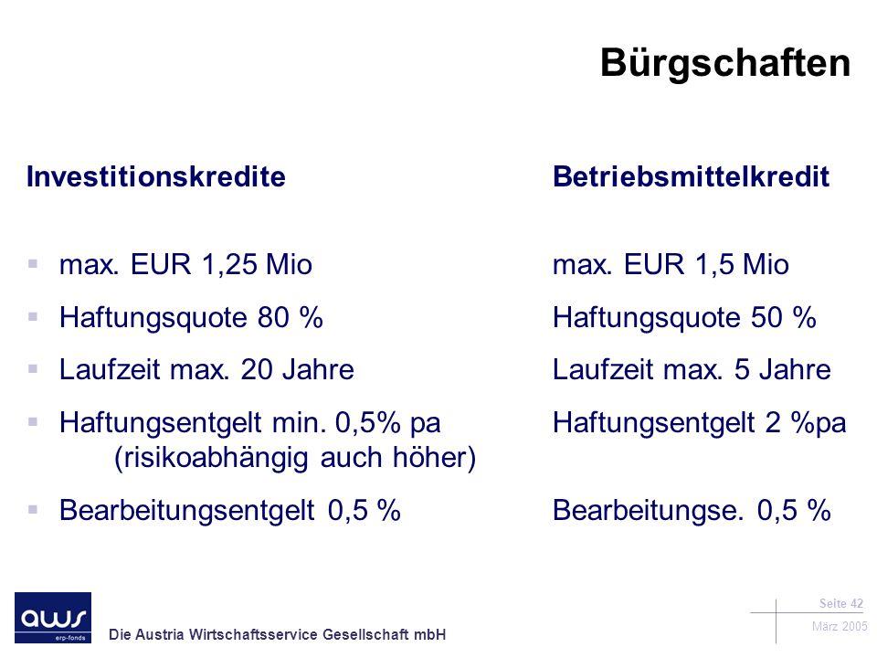 Die Austria Wirtschaftsservice Gesellschaft mbH März 2005 Seite 42 Bürgschaften InvestitionskrediteBetriebsmittelkredit max.