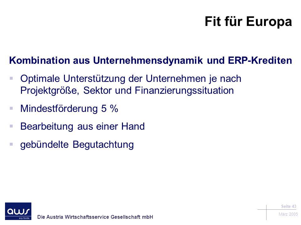 Die Austria Wirtschaftsservice Gesellschaft mbH März 2005 Seite 43 Fit für Europa Kombination aus Unternehmensdynamik und ERP-Krediten Optimale Unterstützung der Unternehmen je nach Projektgröße, Sektor und Finanzierungssituation Mindestförderung 5 % Bearbeitung aus einer Hand gebündelte Begutachtung