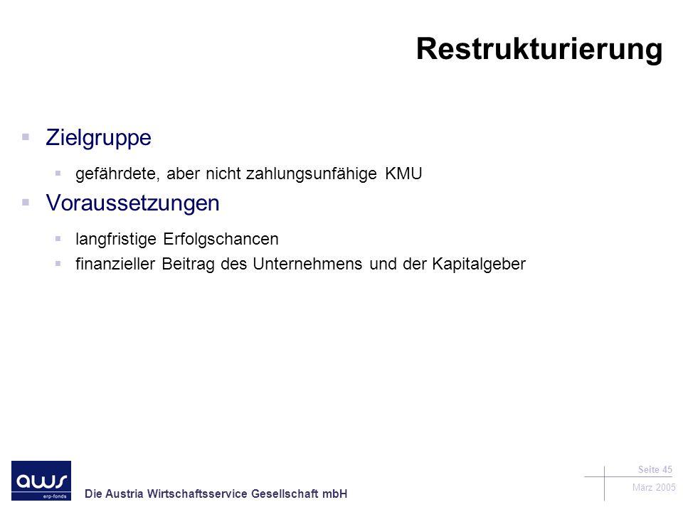 Die Austria Wirtschaftsservice Gesellschaft mbH März 2005 Seite 45 Restrukturierung Zielgruppe gefährdete, aber nicht zahlungsunfähige KMU Voraussetzungen langfristige Erfolgschancen finanzieller Beitrag des Unternehmens und der Kapitalgeber