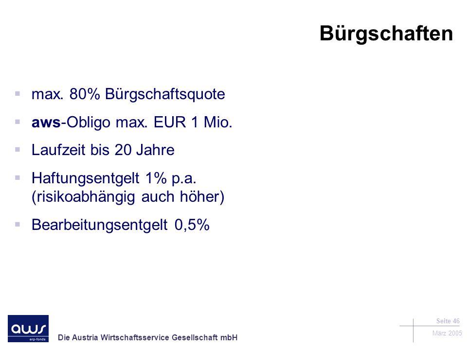 Die Austria Wirtschaftsservice Gesellschaft mbH März 2005 Seite 46 Bürgschaften max.