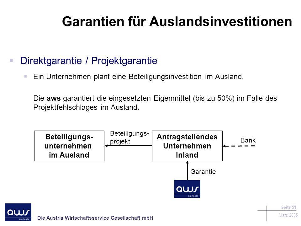 Die Austria Wirtschaftsservice Gesellschaft mbH März 2005 Seite 51 Garantien für Auslandsinvestitionen Direktgarantie / Projektgarantie Ein Unternehmen plant eine Beteiligungsinvestition im Ausland.