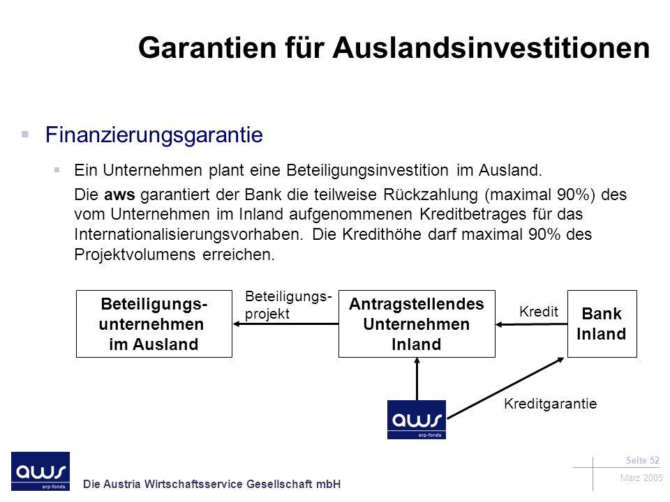 Die Austria Wirtschaftsservice Gesellschaft mbH März 2005 Seite 52 Garantien für Auslandsinvestitionen Finanzierungsgarantie Ein Unternehmen plant eine Beteiligungsinvestition im Ausland.