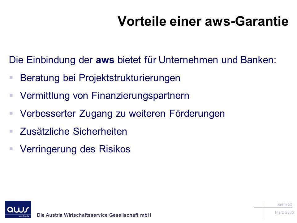 Die Austria Wirtschaftsservice Gesellschaft mbH März 2005 Seite 53 Vorteile einer aws-Garantie Die Einbindung der aws bietet für Unternehmen und Banken: Beratung bei Projektstrukturierungen Vermittlung von Finanzierungspartnern Verbesserter Zugang zu weiteren Förderungen Zusätzliche Sicherheiten Verringerung des Risikos
