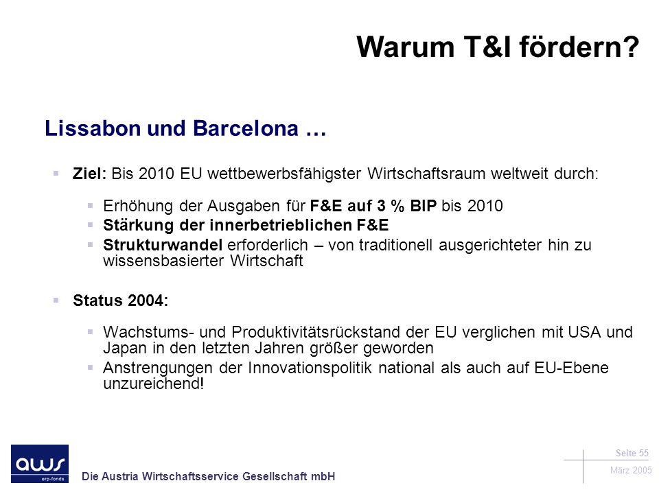 Die Austria Wirtschaftsservice Gesellschaft mbH März 2005 Seite 55 Warum T&I fördern.