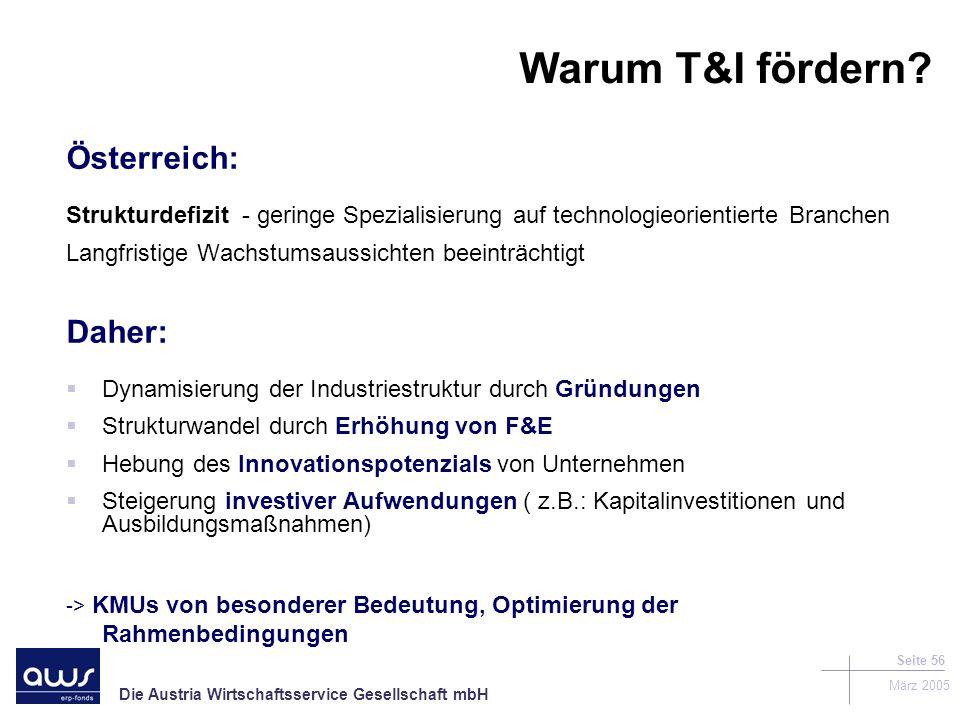 Die Austria Wirtschaftsservice Gesellschaft mbH März 2005 Seite 56 Warum T&I fördern.