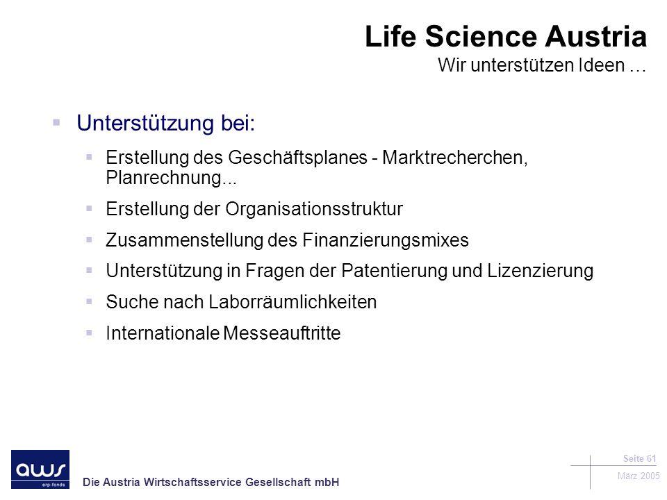 Die Austria Wirtschaftsservice Gesellschaft mbH März 2005 Seite 61 Unterstützung bei: Erstellung des Geschäftsplanes - Marktrecherchen, Planrechnung...