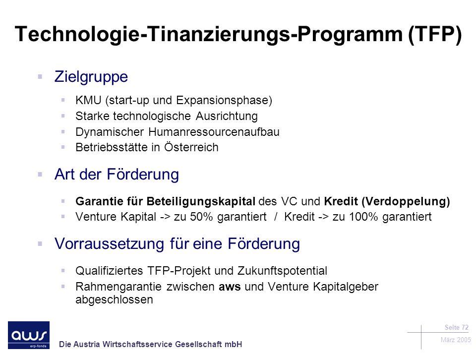 Die Austria Wirtschaftsservice Gesellschaft mbH März 2005 Seite 72 Technologie-Tinanzierungs-Programm (TFP) Zielgruppe KMU (start-up und Expansionsphase) Starke technologische Ausrichtung Dynamischer Humanressourcenaufbau Betriebsstätte in Österreich Art der Förderung Garantie für Beteiligungskapital des VC und Kredit (Verdoppelung) Venture Kapital -> zu 50% garantiert / Kredit -> zu 100% garantiert Vorraussetzung für eine Förderung Qualifiziertes TFP-Projekt und Zukunftspotential Rahmengarantie zwischen aws und Venture Kapitalgeber abgeschlossen
