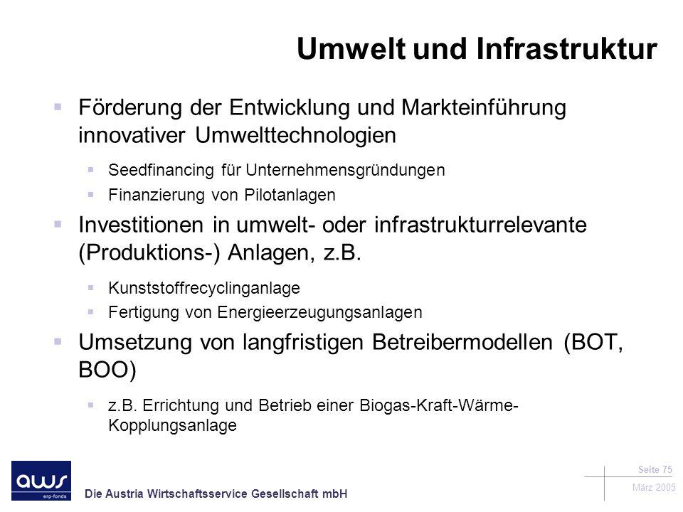 Die Austria Wirtschaftsservice Gesellschaft mbH März 2005 Seite 75 Förderung der Entwicklung und Markteinführung innovativer Umwelttechnologien Seedfinancing für Unternehmensgründungen Finanzierung von Pilotanlagen Investitionen in umwelt- oder infrastrukturrelevante (Produktions-) Anlagen, z.B.