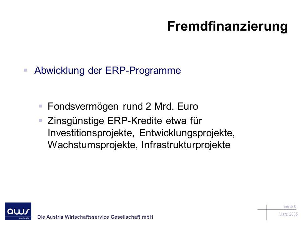 Die Austria Wirtschaftsservice Gesellschaft mbH März 2005 Seite 8 Fremdfinanzierung Abwicklung der ERP-Programme Fondsvermögen rund 2 Mrd.