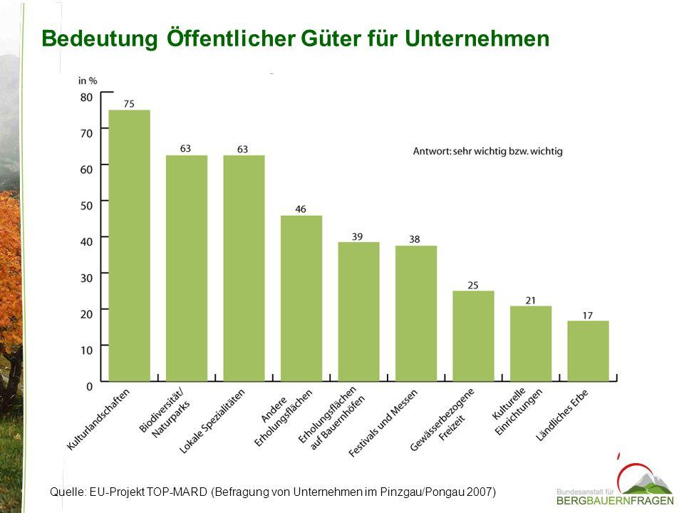 Bedeutung Öffentlicher Güter für Unternehmen Quelle: EU-Projekt TOP-MARD (Befragung von Unternehmen im Pinzgau/Pongau 2007)
