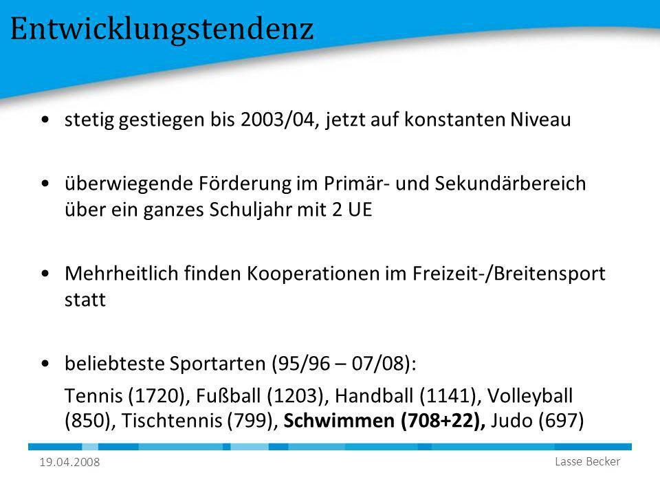 19.04.2008 Lasse Becker Entwicklungstendenz stetig gestiegen bis 2003/04, jetzt auf konstanten Niveau überwiegende Förderung im Primär- und Sekundärbe