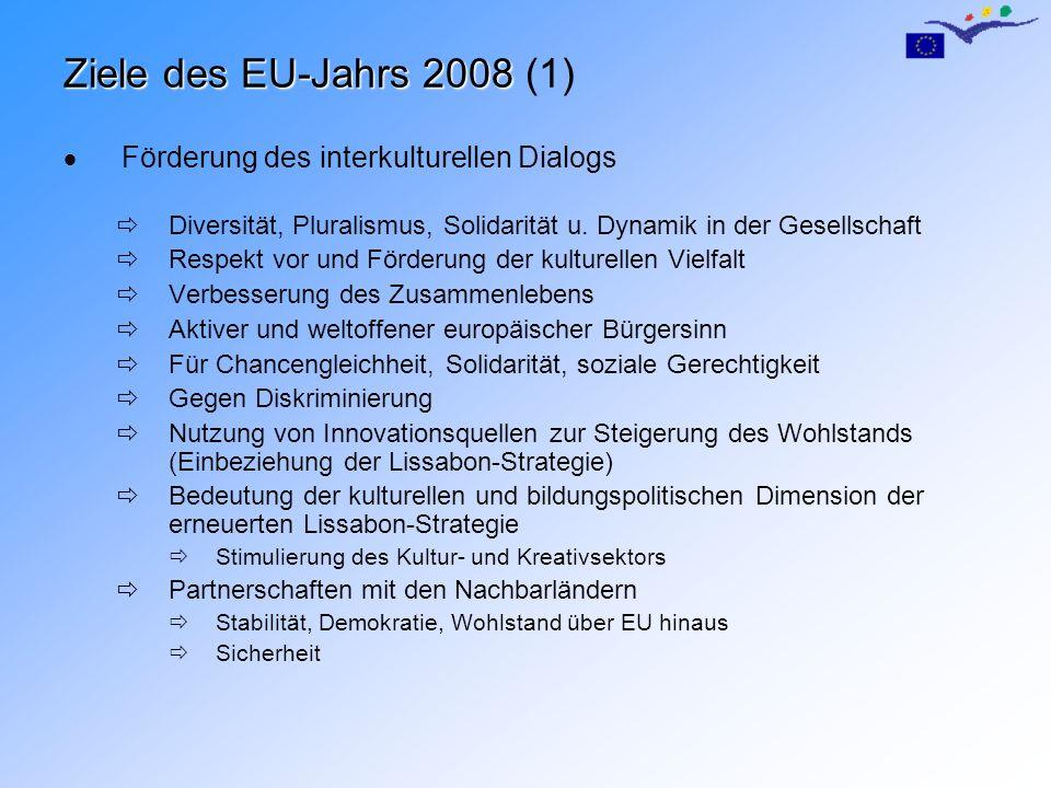 Ziele des EU-Jahrs 2008 Ziele des EU-Jahrs 2008 (1) Förderung des interkulturellen Dialogs Diversität, Pluralismus, Solidarität u. Dynamik in der Gese