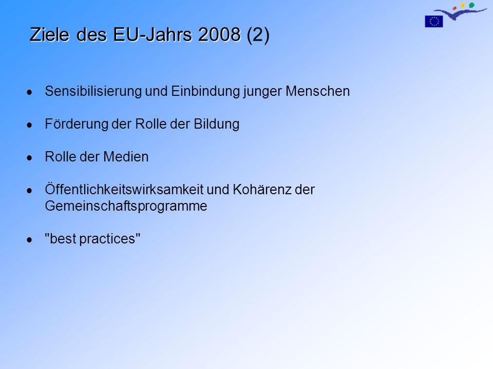 Budget und Maßnahmen 10 Millionen (1.1.2007 – 31.12.2008) EU-Gesamtbudget 1.Veranstaltungen und Initiativen Symbolträchtige Aktionen EU-weit (30%) Aktionen auf nationaler/regionaler Ebene mit starker europäischer Dimension (30%) 2.Information und Kommunikation (40%) Logo und Motto Informationskampagne auf EU- und nationaler Ebene Zusammenarbeit mit Medien zur Informationsverbreitung Materialien Website Umfragen und Studien