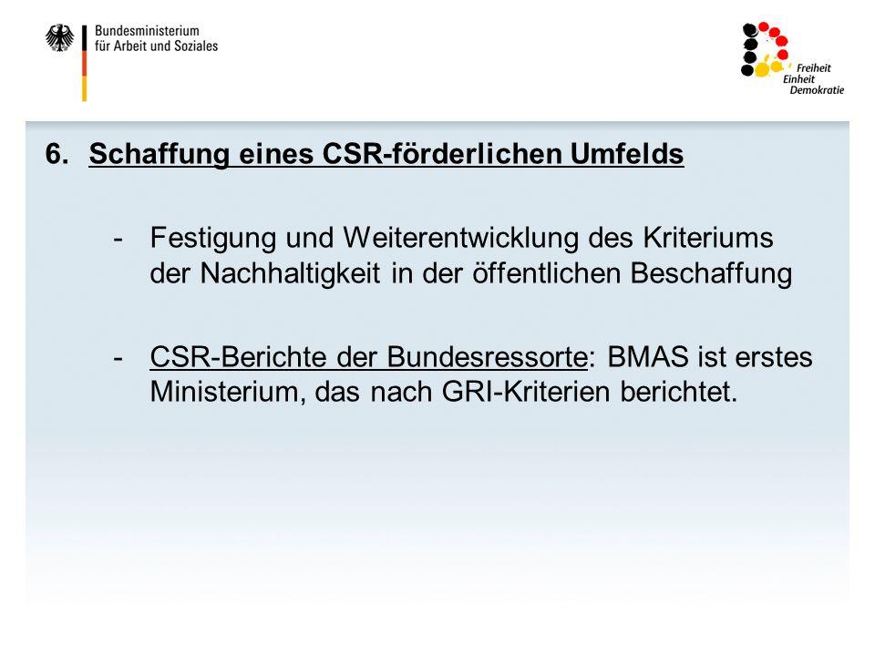 6.Schaffung eines CSR-förderlichen Umfelds -Festigung und Weiterentwicklung des Kriteriums der Nachhaltigkeit in der öffentlichen Beschaffung -CSR-Ber