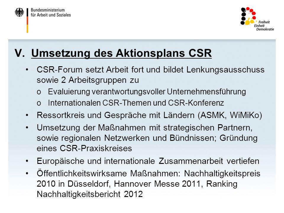 V. Umsetzung des Aktionsplans CSR CSR-Forum setzt Arbeit fort und bildet Lenkungsausschuss sowie 2 Arbeitsgruppen zu oEvaluierung verantwortungsvoller
